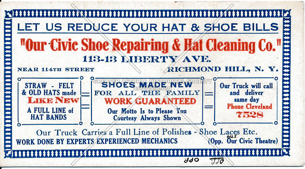 Civic Show Repairing & hat Cleaning Co., 113-13 Liberty Ave, Richmond Hill, L.I.